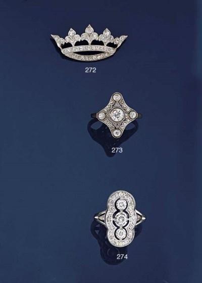 An Edwardian diamond panel rin