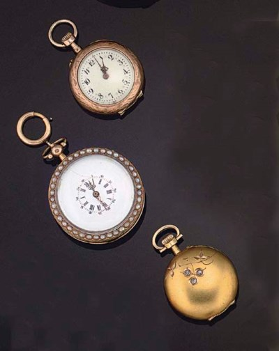 THREE FOB WATCHES