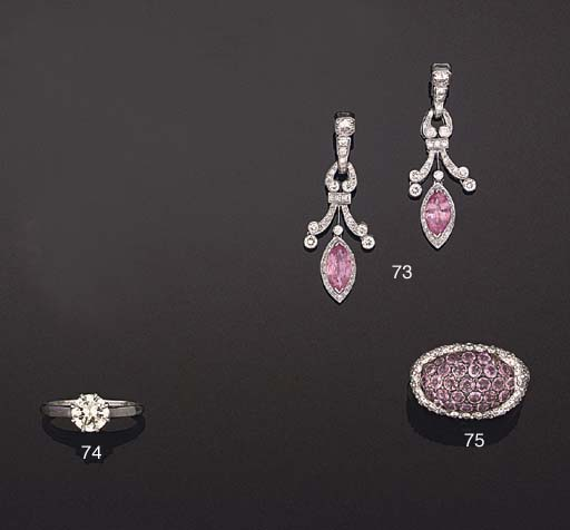 A PAIR OF PINK SAPPHIRE AND DI