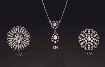 A diamond 'rosette' brooch