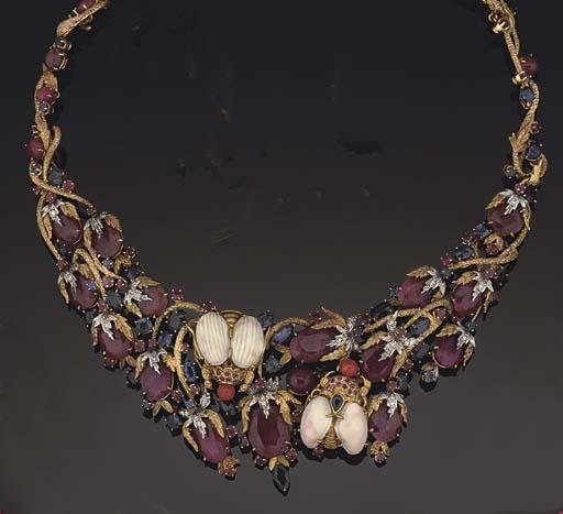 A multi-gem necklace