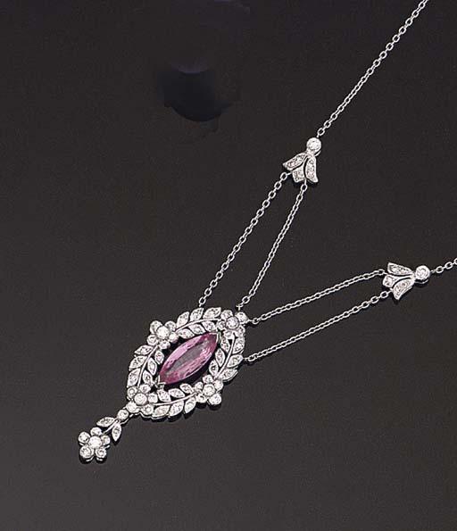 A PINK SAPPHIRE AND DIAMOND PE