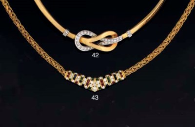 A diamond collar necklace, by