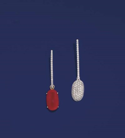 A pair of diamond and coral ea