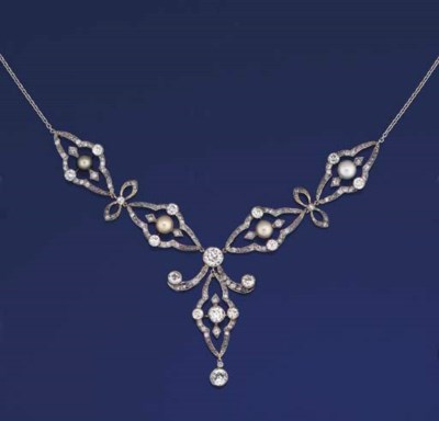 A DIAMOND AND PEARL NECKLACE