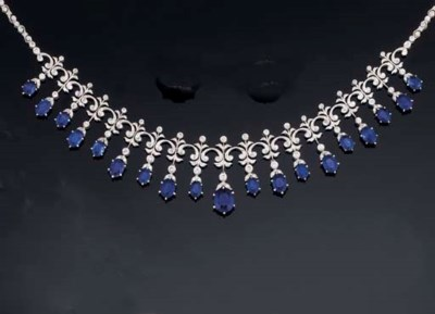 A SAPPHIRE AND DIAMOND FRINGE