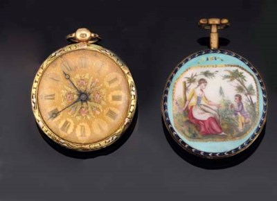 TWO POCKET WATCHES AND TWO FOB