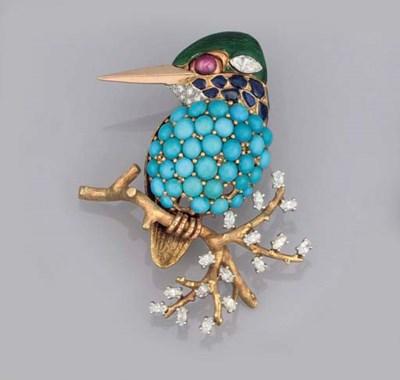 A DIAMOND, GEM AND ENAMEL BIRD