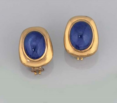 A PAIR OF SAPPHIRE EARCLIPS