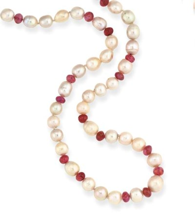 A PEARL AND RUBY SPECTACLE CHA