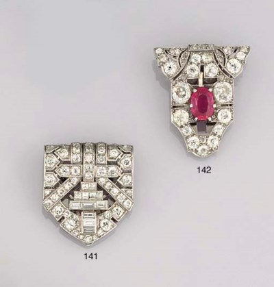 AN ART DECO RUBY AND DIAMOND C