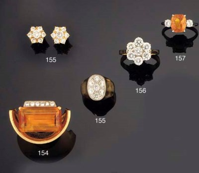 A CITRINE AND DIAMOND RING BY