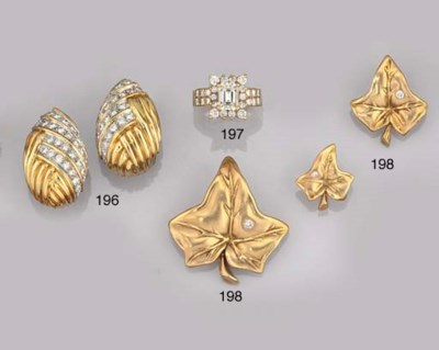 THREE DIAMOND SET BROOCHES, BY