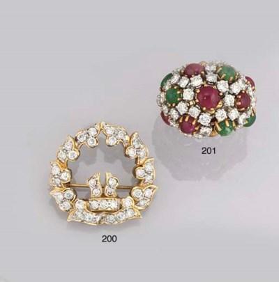 A DIAMOND, RUBY AND EMERALD RI