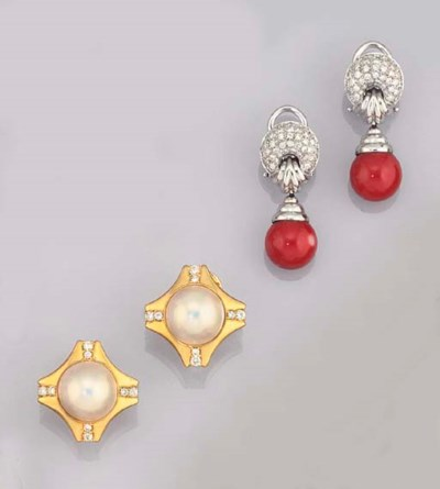 TWO PAIRS OF DIAMOND AND GEM E