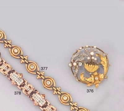A 14CT. GOLD AND DIAMOND BRACE