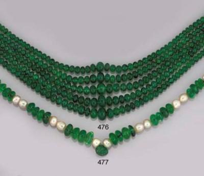 A multi strand emerald necklac
