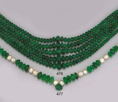 AN EMERALD AND PEARL NECKLACE