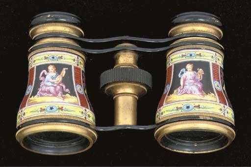 A pair of enamelled opera glas