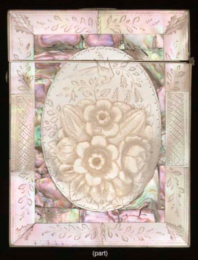 A mother-of-pearl card case