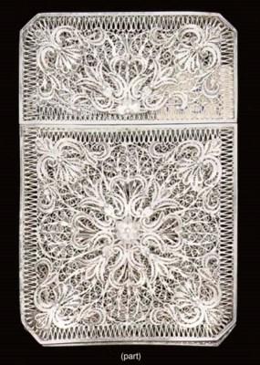 A silver-gilt filigree card ca