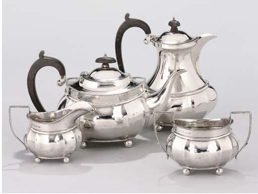 A FOUR-PIECE SILVER TEA SERVIC
