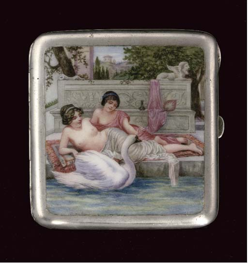 A silver and enamel cigarette
