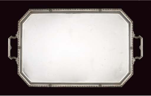 A SILVER 2-HANDLED TRAY,