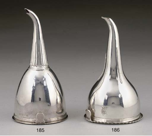 A GEORGE IV SILVER WINE FUNNEL