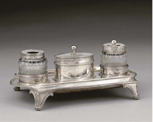 A GEORGE III SILVER INKSTAND,