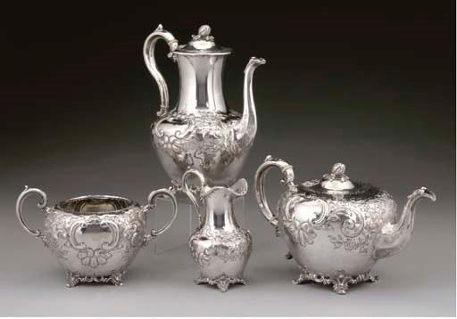 A VICTORIAN 4-PIECE SILVER TEA