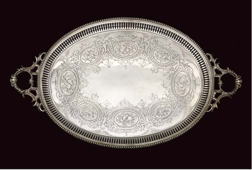 A VICTORIAN OVAL SILVER TRAY,