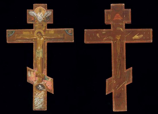 A WOODEN PROCESSIONAL CROSS