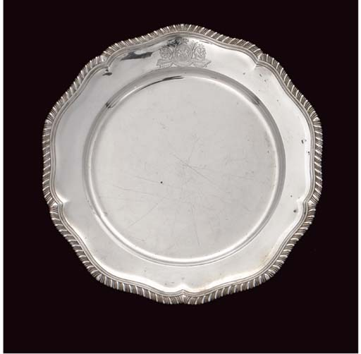 AN EARLY GEORGE III SILVER DINNER PLATE