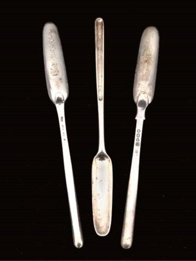 THREE SILVER MARROW SCOOPS,