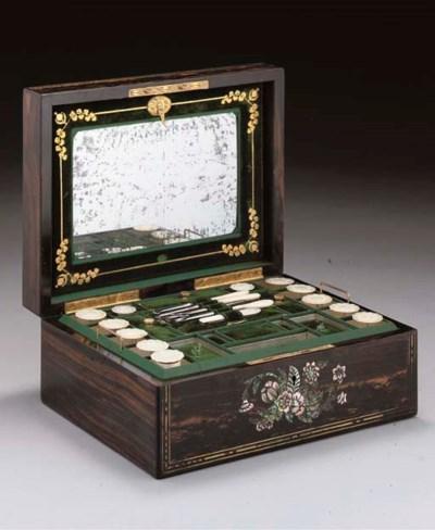 A brass bound sewing box