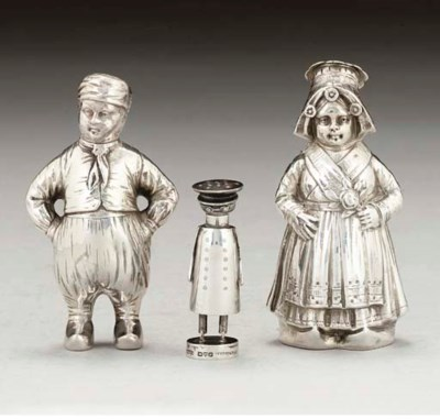 A PAIR OF GERMAN NOVELTY SILVE