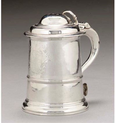 A GEORGE II SILVER TANKARD OF