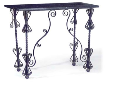 A WROUGHT IRON CONSOLE TABLE