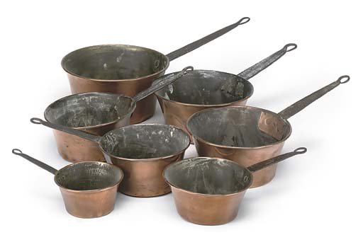 A SET OF SEVEN COPPER AND WROU