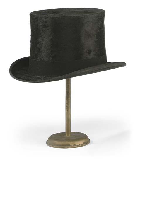 A BLACK SILK TOP HAT