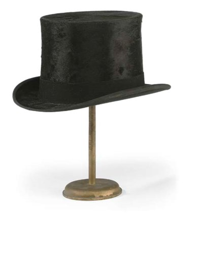 A BLACK SILK TOP HAT