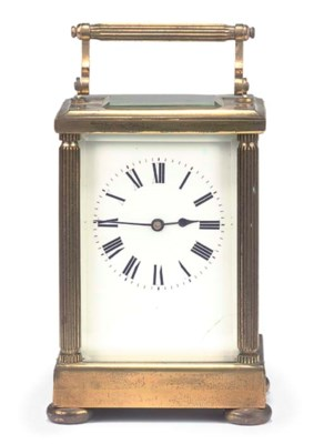 A FRENCH BRASS CARRIAGE TIMEPI