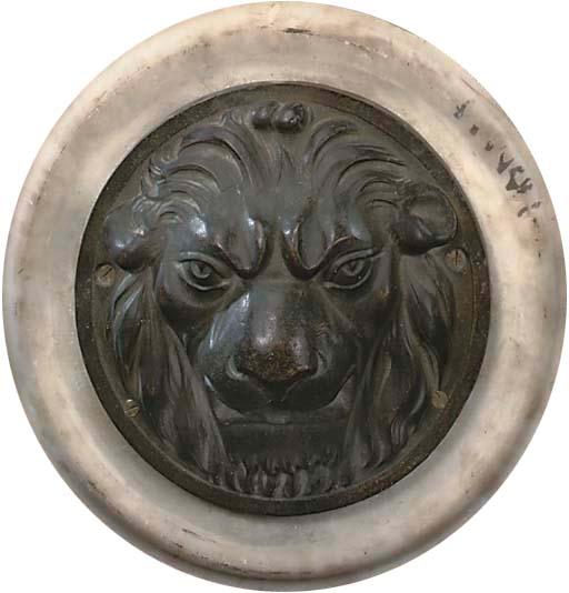 A BRONZE LION HEAD FOUNTAIN MA