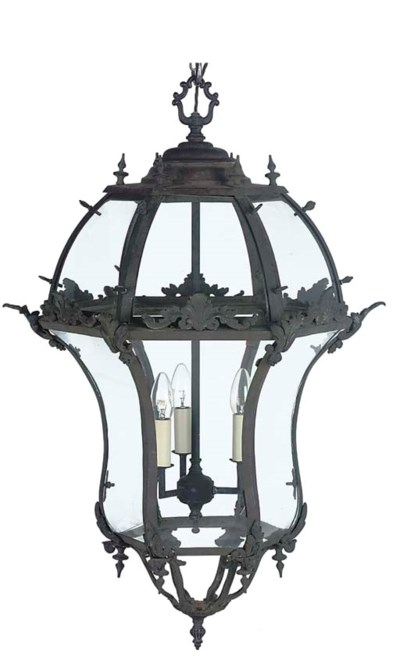 A FRENCH BRONZE LANTERN