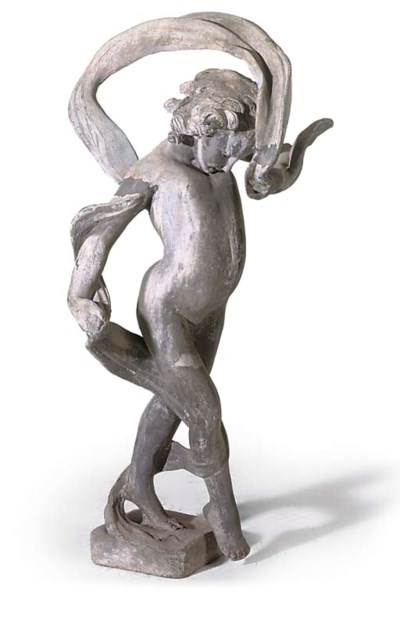 A CAST LEAD FIGURE OF A YOUNG