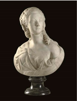 A WHITE MARBLE BUST OF THE COM
