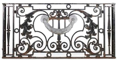 A PAINTED CAST IRON BALCONY