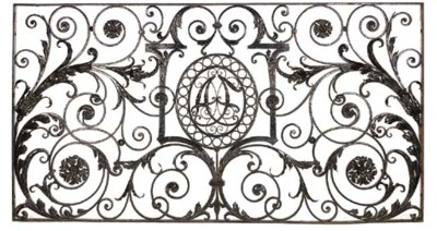 A LARGE CAST AND WROUGHT IRON
