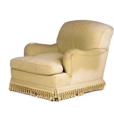 A MAHOGANY AND UPHOLSTERED EAS